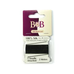 Silk Beading Thread (2 metre Lengths) 0.6mm Black with Needle