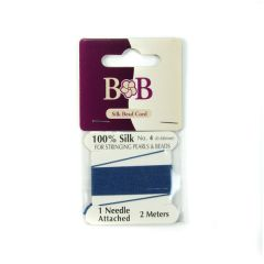 Silk Beading Thread (2 metre Lengths) 0.6mm Royal Blue with Needle