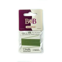 Silk Beading Thread (2 metre Lengths) 0.6mm Bright Green with Needle