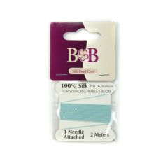 Silk Beading Thread (2 metre Lengths) 0.6mm Turquoise with Needle