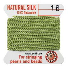 Griffin Natural Silk Beading Thread (1.05mm No.16) + Needle Jade Green 2 metres NETT