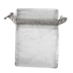 Silver Organza Pouch with Satin Ribbon 10x7.5cm