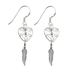 Authentic Native American Dream Catcher Mini Heart Earring Sterling Silver (STS)