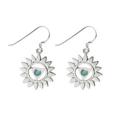 Chakra Throat Turquoise 20mm Eardrop Sterling Silver (STS)