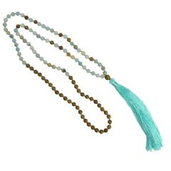 Mala Necklace with 6mm Frosted Amazonite  Beads & Tassel 80cm Long