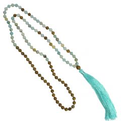 Mala Necklace with 8mm Frosted Amazonite  Beads & Tassel 80cm Long