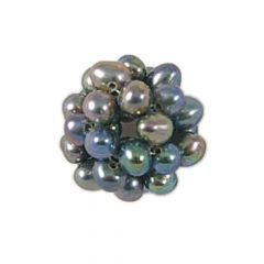 Knitted Pearl Ball Bead 12-13mm  - Peacock