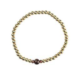 Garnet Bracelet Hematine 18ct Gold Plating - Birthstone January