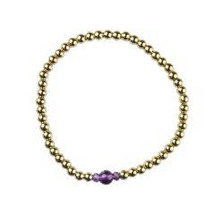 Amethyst Bracelet Hematine 18ct Gold Plating -Birthstone  February