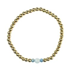 Aquamarine Bracelet Hematine with 18ct Gold Plating - Birthstone March