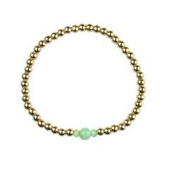 Chrysoprase Bracelet Hematine with 18ct Gold Plating -Birthstone May