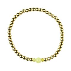 Yellow Opal Bracelet Hematine with 18ct Gold Plating -Birthstone October