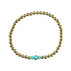 Turquoise Bracelet Hematine with 18ct Gold Plating Birthstone - December