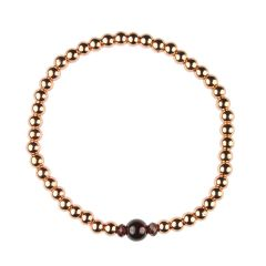 Garnet Bracelet Hematine with Rose Gold Plating - Birthstone January