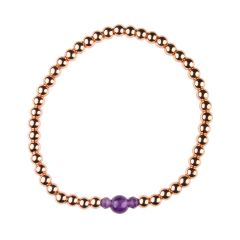 Amethyst Bracelet Hematine with Rose Gold Plating -Birthstone February