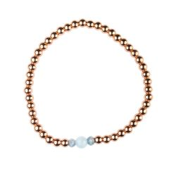 Aquamarine Bracelet Hematine with Rose Gold Plating -Birthstone March