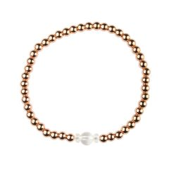 Rock Crystal Bracelet Hematine with Rose Gold Plating - Birthstone April