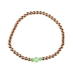 Chrysoprase Bracelet Hematine with Rose Gold Plating - Birthstone May