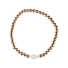 Moonstone Bracelet Hematine with Rose Gold Plating -Birthstone June