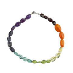 7 Chakra Oval Bead Bracelet with Sterling Silver Bolt Ring Clasp