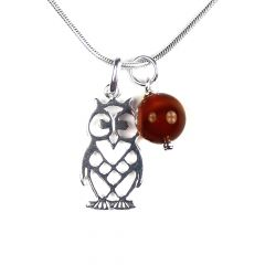Owl Charm & Carnelian Gemstone Necklace Sterling Silver