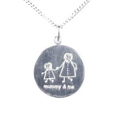 Mummy & Me Etched Necklace Sterling Silver
