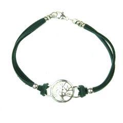 Suede Tree of Life Bracelet (Green) Sterling Silver